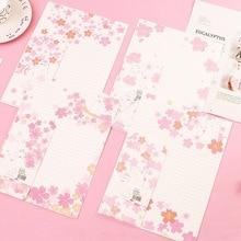 9 шт./компл. 3 конверта+ 6 бумажных букв s вишневый цвет и кошка бумага для письма конверт Набор подарочных канцелярских принадлежностей