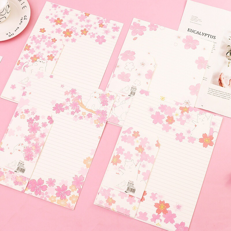 9 Pcs/Set 3 Envelopes+6 Letter Papers Cherry Blossom And Cat Writing Paper Envelope Set Gift Stationery