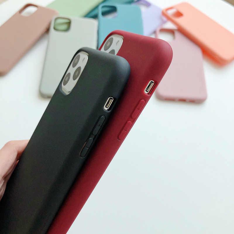 N1986N funda para teléfono para iPhone 11 11 Pro Max X XR XS Max 6 6s 7 8 Plus moda Color caramelo sencillo funda de silicona suave de Color sólido