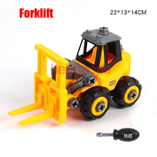 Hehepopo Forklift Car Truck Disassemble Model Toy 20cm Truck Plastic Toy Construction Vehicles Truck for Children Boys Cars