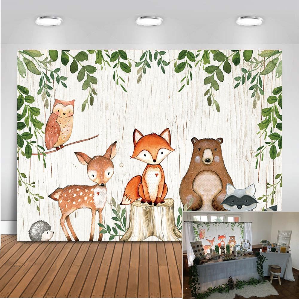 Животные Новорожденный ребенок душ фото фон Лесной День рождения украшение Баннер лиса фон с медведем для фотостудии|Фон| | - AliExpress