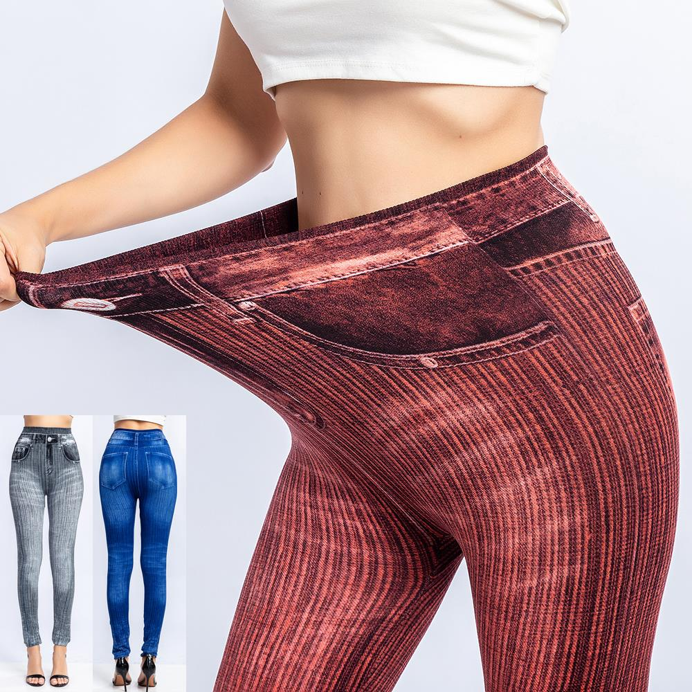 CALOFE Women Jean Leggings Slim Fitness Skinny Leggings Lady Casual High Elastic Waist Running Sports Push Up Legging Pants 3XL