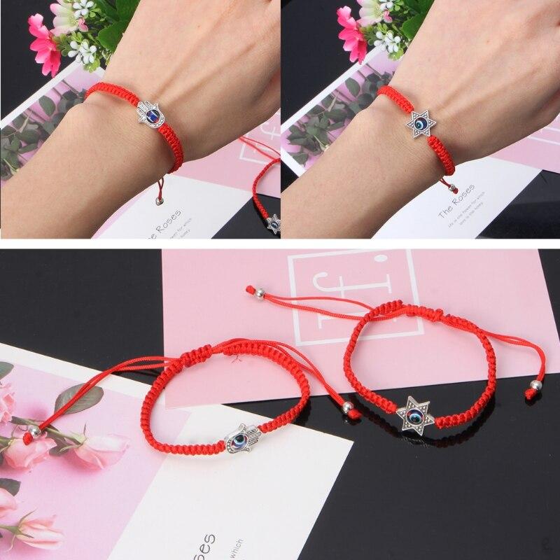 Lucky Kabbalah Red String Thread Hamsa Bracelets Blue Turkish Evil Eye Charm Women Handmade Fatima Friendship Jewelry 2