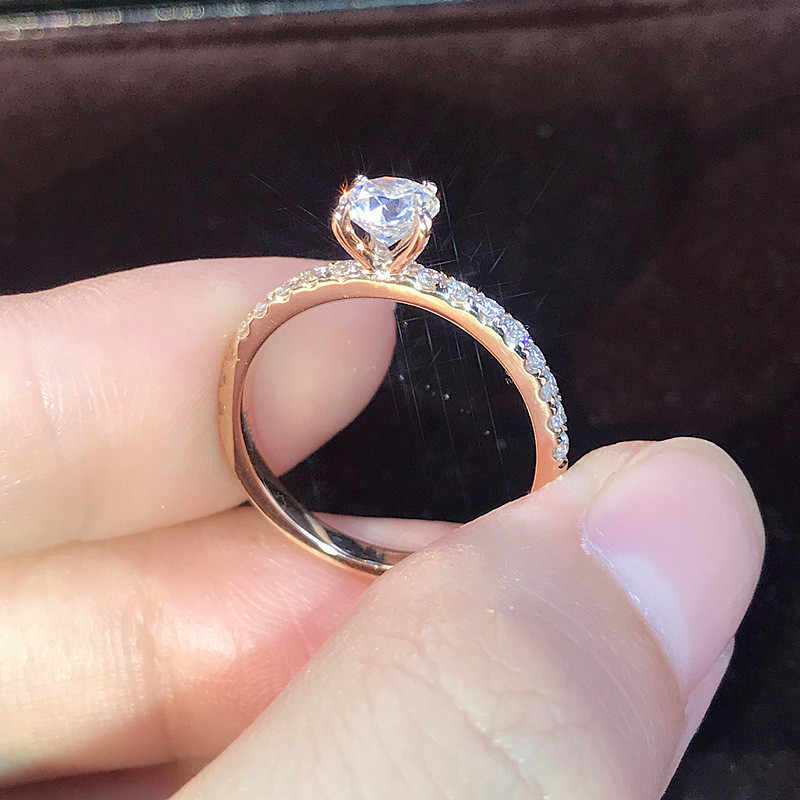 LETAPI 925 Silver Jewelry 1.5ct AAA Zircon Engagement Rings Female Rose gold color Crystal Wedding rings for Woman