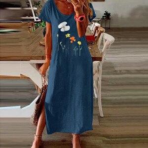 Новинка 2020, женское летнее длинное платье-комбинация, платье-рубашка, Пляжный пуловер с галстуком-краской, повседневный Макси-сарафан в стиле бохо, Пляжное мешковатое Платье с принтом #7,11