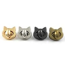 Metal Cute Cat Bag Turn Lock Twist Lock Clasp For Leather Craft Women Handbag Shoulder Bag DIY Bag Hardware Accessories