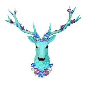 Estatua de cabeza de ciervo grande accesorios de decoración del hogar escultura abstracta 3D decoración colgante de pared estatuas de alce sala de estar arte Mural M4206