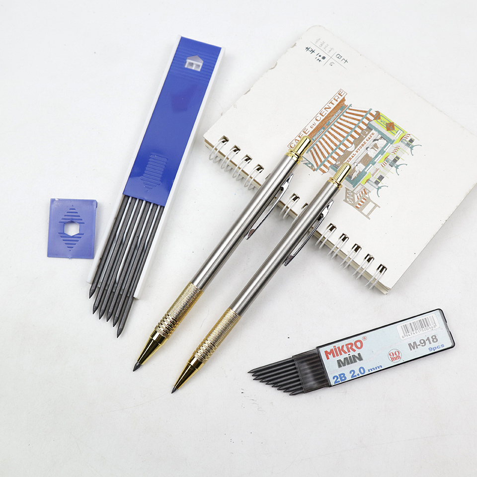 Metal Mechanical Pencil 2.0/3.0 2B High Quality Sketch Drawing Automatic Pencil Send 1 Pencil Lead For School Office Stationery