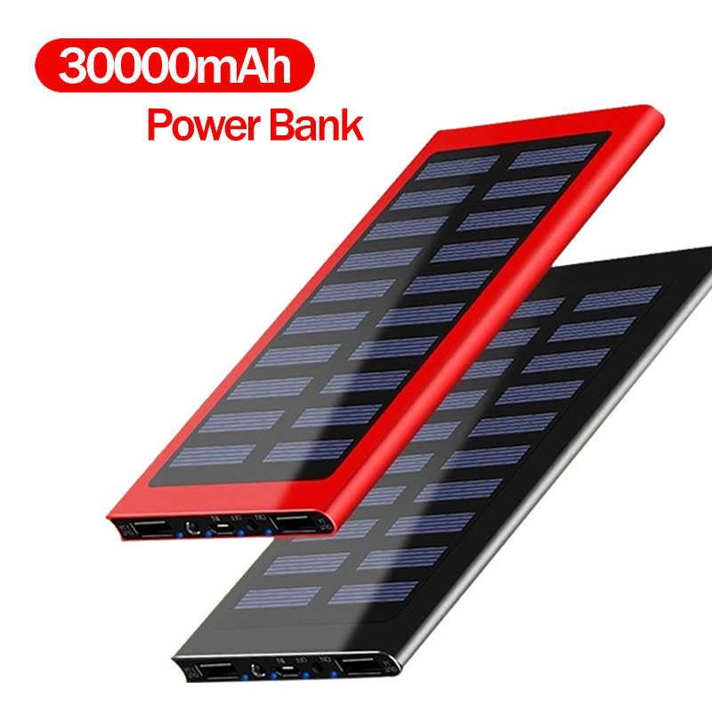 30000Mah Power Bank Solar Grote Capaciteit Ultra Dunne 9Mm Met Led Licht Externe Solar Charger Travel Powerbank Voor smartphone