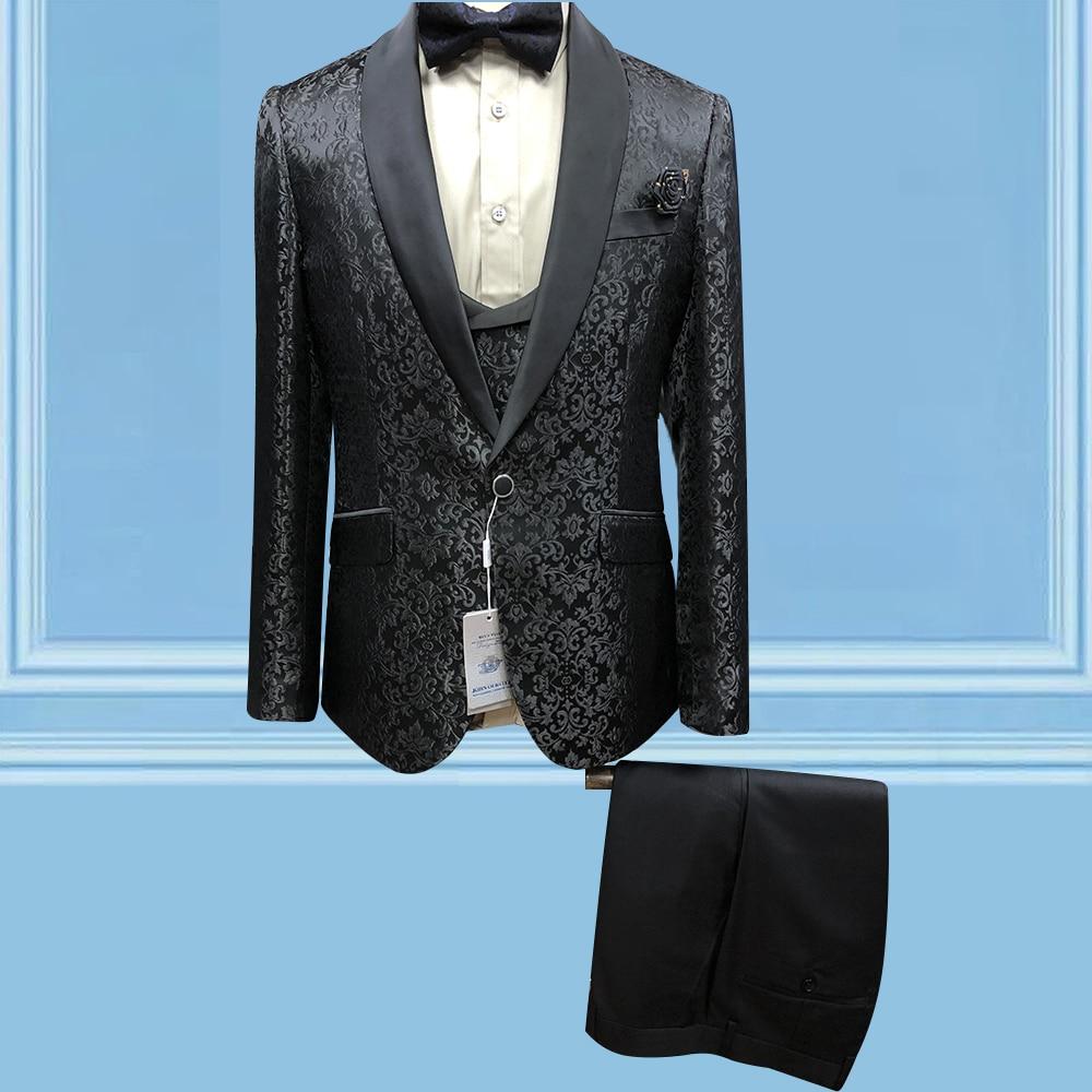New British Suitcase Set Black Jacquard Waistcoat Slim Fit Tuxedo Jacket Superior Quality Ball Tailor Made Suits Wedding Dress