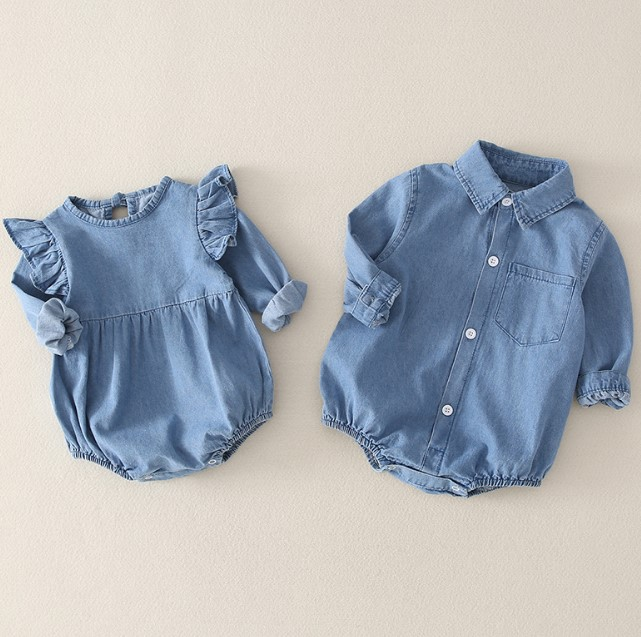 Toddler Newborn Baby Rompers Girl Boys Denim Jumpsuits Long Sleeve Solid Playsuits Solid Jumpsuit Outfit