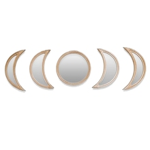 AAAK -Nordic Style Rattan Moonphase Mirror Set Boho Style Decoration Moon Phase Mirror Set Home Room Decor Photography Prop