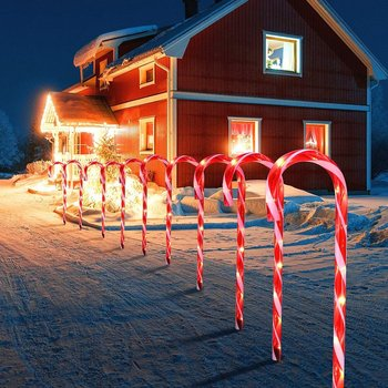 10pcs LED Xmas Cane Lights Merry Christmas Pathway Walkway Light For Home Street Lamp Christmas Decoration EU image