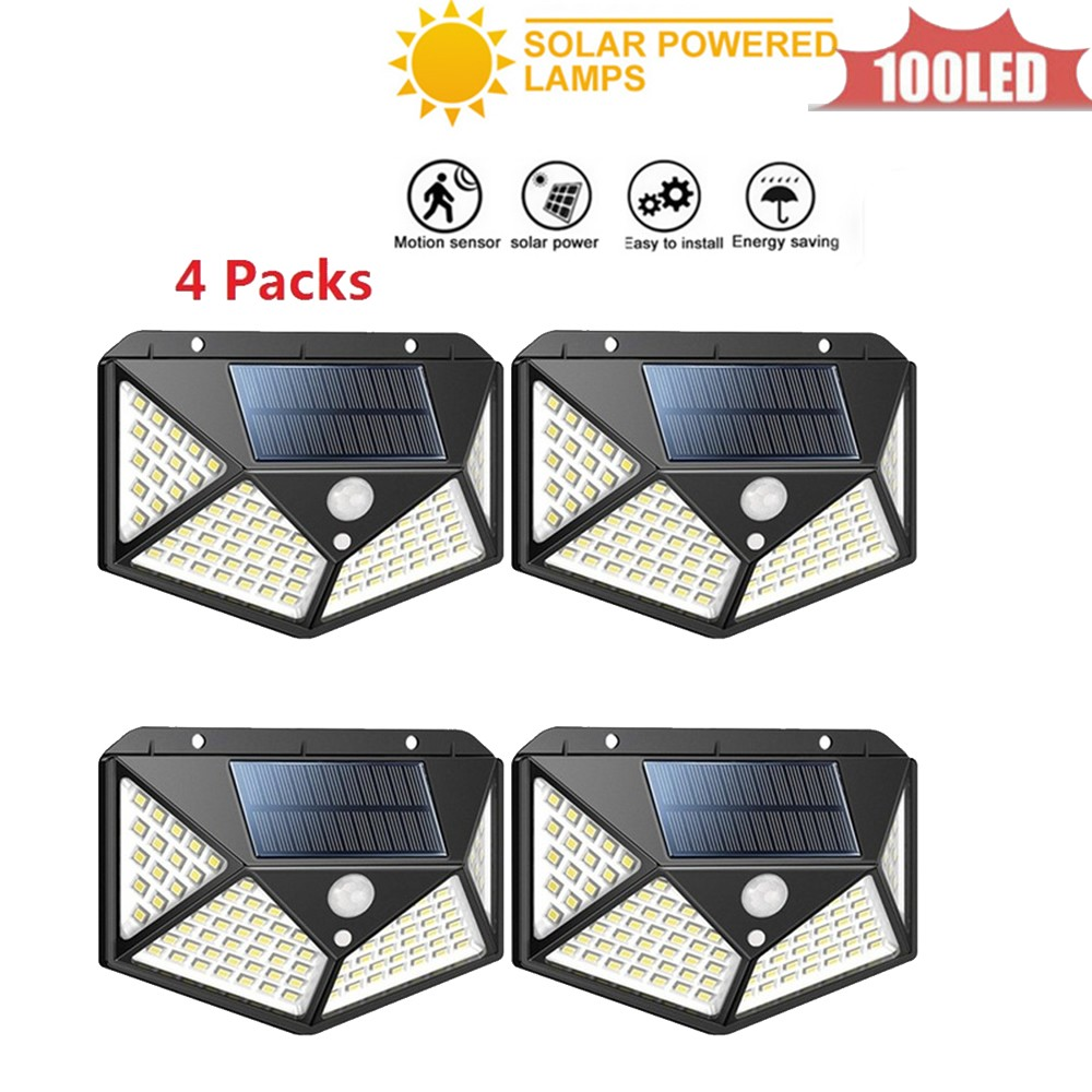 100 LED Solar Lamp Sensor Solar Powered Panel LED Street Light Outdoor Garden Path Spot Wall Emergency Lamp Luminaria 4 Sided 27