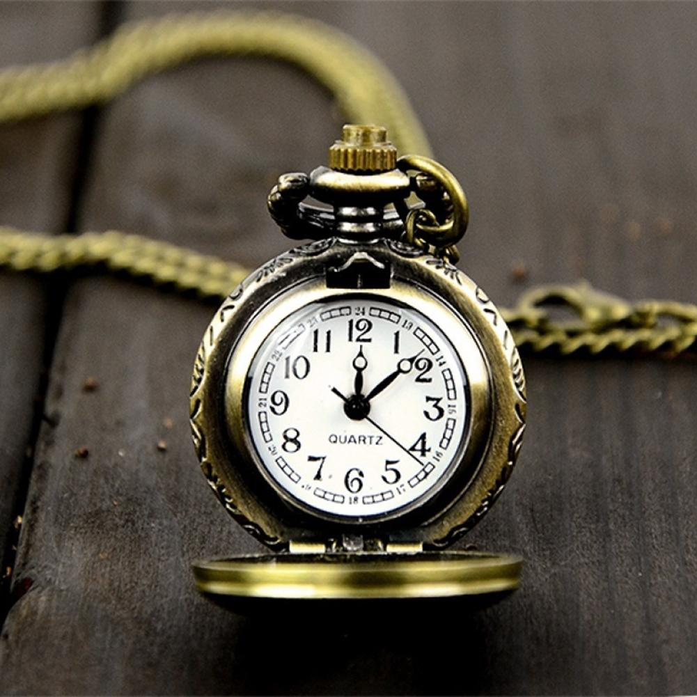Pocket Watch Unisex Pocket Watch Retro Vintage Steampunk Clock Quartz Necklace Carving Pendant Chain Clock Pocket Watch Fob Watc