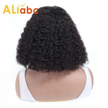 Human-Hair Wigs Short-Lace Curly Lace-Front Kinky Remy Natural-Color Black Women Aliabc