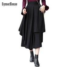 SymorHouseผู้หญิงฤดูหนาวผ้าขนสัตว์แฟชั่นกระโปรงสูงเอวA Line Maxiกระโปรงยาวผ้าลินินสบายๆ