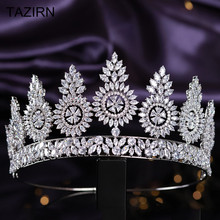 Luxury Cubic Zirconia Queen Crown Wedding Bridal Tall Tiaras CZ Women Party Prom Hair Jewelry Accessories Pageant Headpieces luxury classic cz cubic zirconia wedding bridal tiara crown diadem women hair jewelry accessories s17802