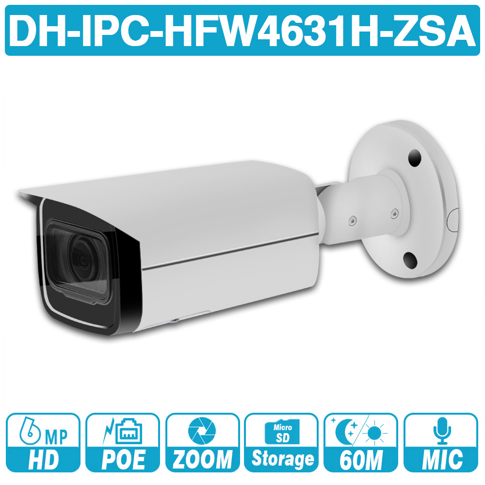 DH 6MP bullet IP Camera IPC HFW4631H ZSA 2.7 13.5mm 5X Zoom IR 60m CCTV Camera Built in MIC POE security camera for outdoor|Surveillance Cameras| |  - title=