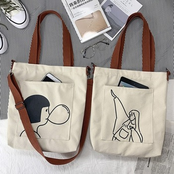 2020 Women's Tote Bags Handbag Ladies Casual Shoulder Bag Female Cross Body Bags Cotton Cloth Shopper Bag Girl Messenger Bag