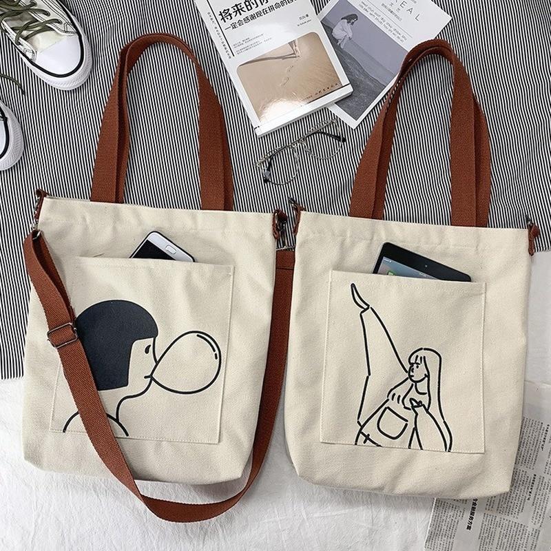 Bolsa das Senhoras Bolsa de Ombro 2020 para Mulheres Tote Bags Casual Feminino Cruz Corpo Bolsas Algodão Pano Shopper Bolsa Menina Mensageiro