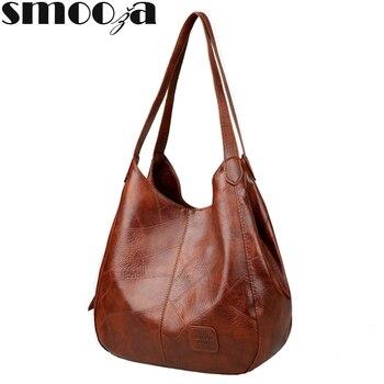 SMOOZA-bolsos de mano Vintage para mujer, bandoleras de diseñador de lujo, bolsos de marca de moda con asa superior
