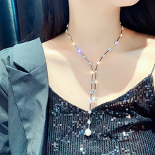 USTAR New Fashion Crystal Choker Necklaces for Women Long Chains Pearl Pendant Necklaces Statement Jewelry Gifts Bijoux