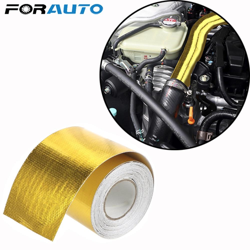 FORAUTO-Cinta de papel de aluminio autoadhesiva de alta resistencia a altas temperaturas, 5cm x 5m, tubo de admisión de oro, accesorios para coche