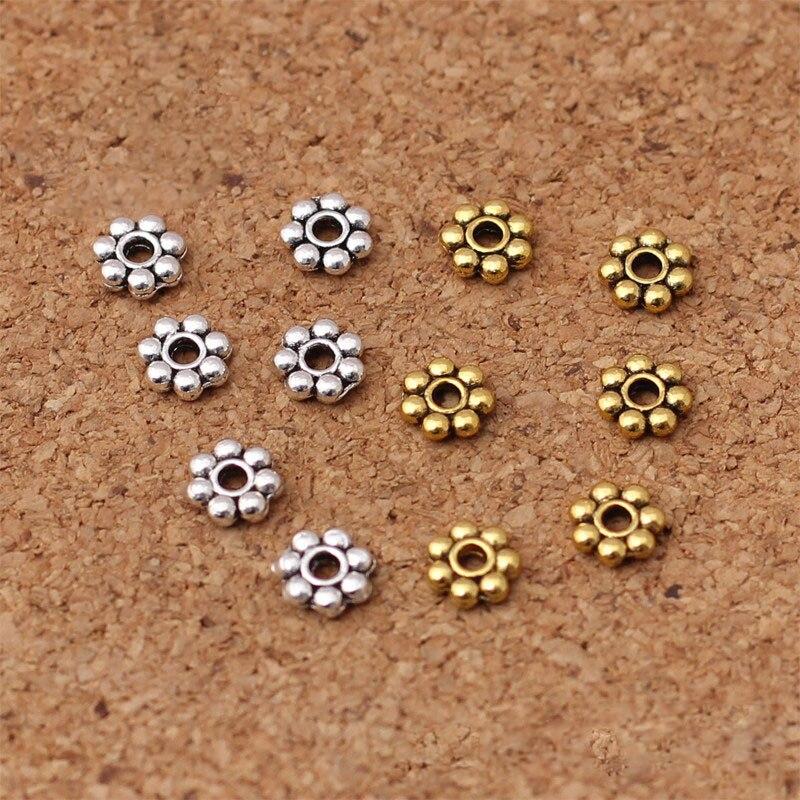 100pcs/lot Antike Gold/Silber Farbe Kleine Schneeflocke Perle Spacer 5,5mm Metall Handgemachte Flache Perlen Separator DIY Schmuck Machen