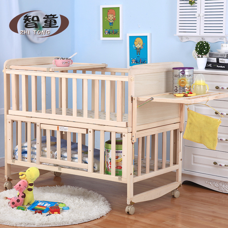 Crib Solid Wood Paint-free Environmentally Friendly Cradle Bed Multifunctional Bed Children's Bed Baby Bed Game Bed