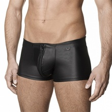 Mens Leather Boxer Shorts Trunk Black Sexy Zip Open Crotch Boxer