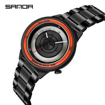 SANDA New Black Wrist Watch Men Watches Male Business Style Wristwatches Stainless Steel Quartz Watch For Men Clock