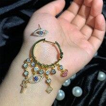 fashion asymmetric eyes  zircon chandelier earrings boho luxury bohemian crystal indian dangle rhinestone