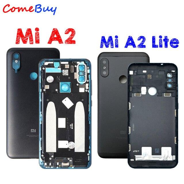 Carcasa trasera para Xiaomi Mi A2, carcasa trasera para batería, reemplazo de botón de volumen de encendido