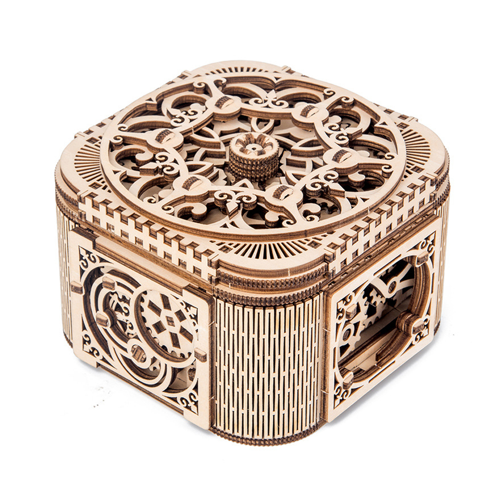 DIY Children Game Teens Jewelry Box Wooden Model Assembled Storage 3D Toys Gifts Decorative Mechanical Transmission