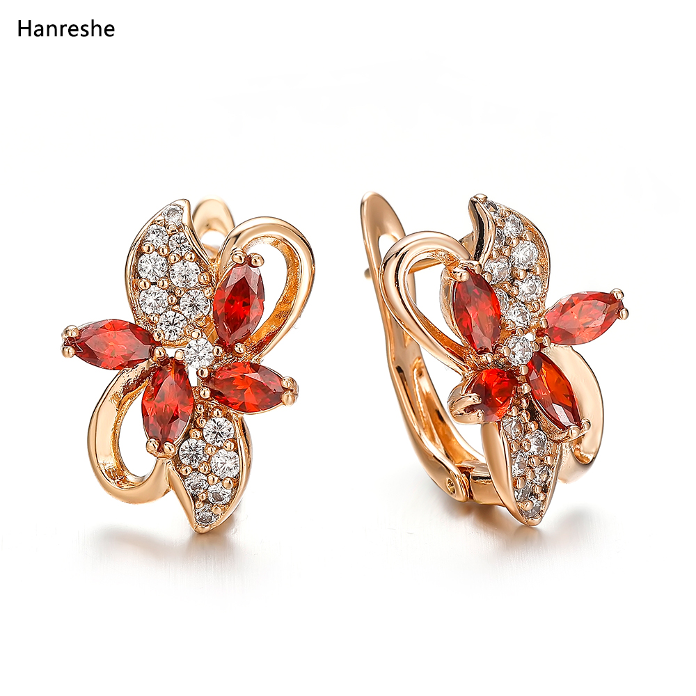 Hanreshe Fashion Classic Natural Zircon Crystal Earring Jewelry Lady Woman High Quality Red Blue Flower Earring Wedding Gift