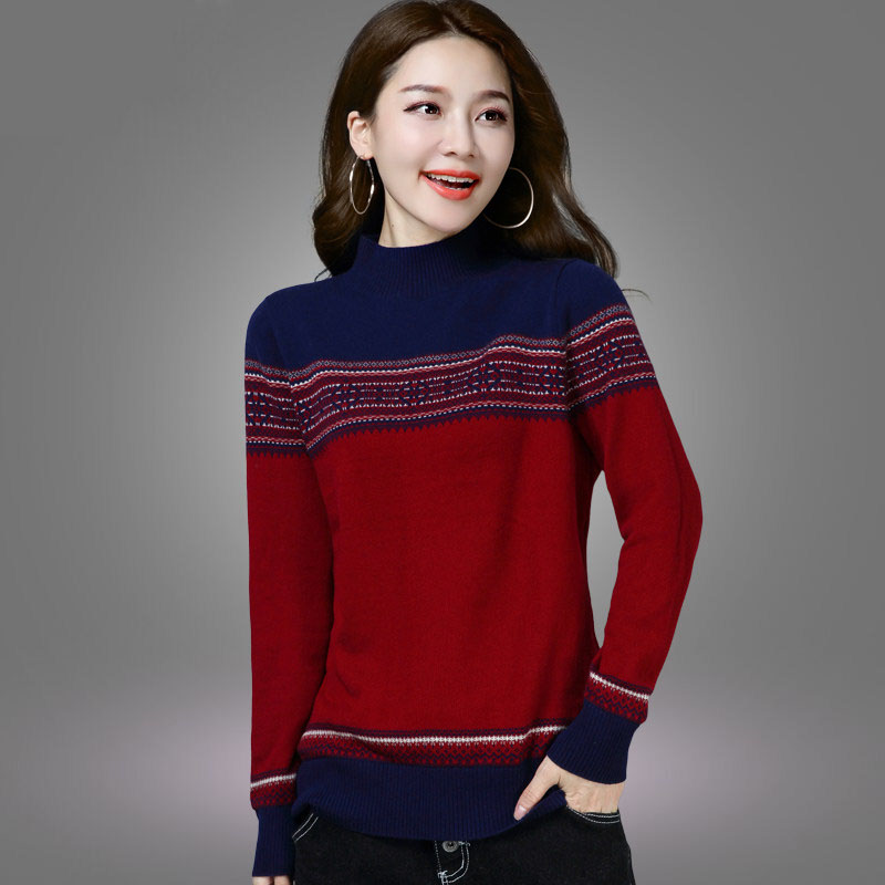 Female 2019 Winter Turtle Neck Pullovers Women Knitted Pull Sweaters Long Sleeve Warm Pullover Jumper Ladies Striped Sweater