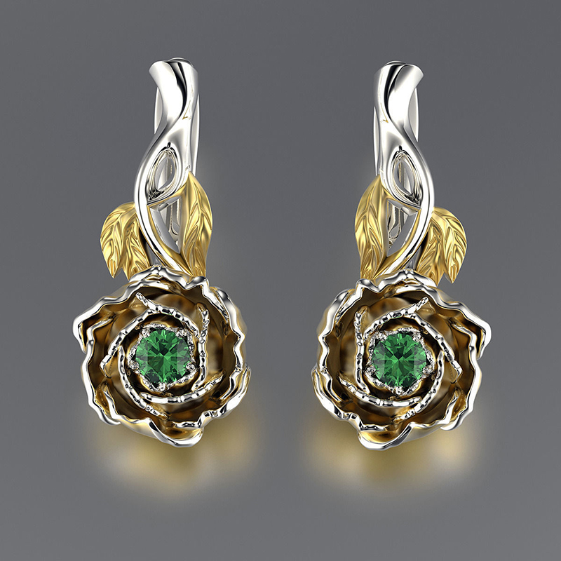 <font><b>Elegant</b></font> <font><b>Gold</b></font> Flower <font><b>Earrings</b></font> For Women Green Zircon Dangle <font><b>Earrings</b></font> Fashion <font><b>Jewelry</b></font> Female Dangle <font><b>Earring</b></font> Accessories D5D444 image