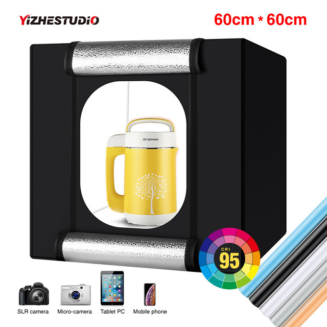 Yizhestudio 60 cm LED light box Folding Photo Studio Softbox light Tent with white yellow black background Accessories box light