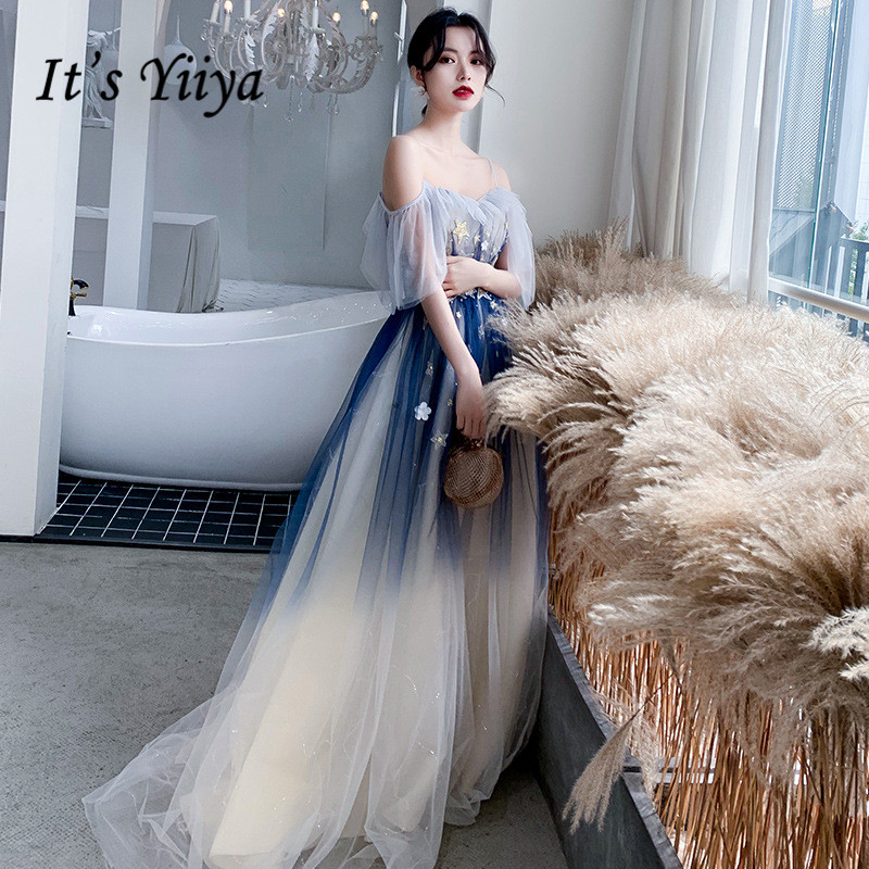 Evening Dresses 2020 It's Yiiya R248 Spaghetti Strap Boat Neck Robe De Soiree Gradient Blue A- Line Long Shining Evening Dress