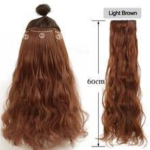 MUMUPI – extensions de faux cheveux synthétiques pour femmes, postiches à clip, postiches bouclées, extension halo, lisses, ondulées, brunes