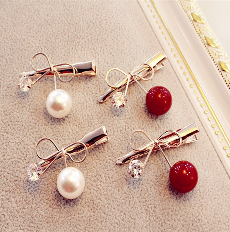1 PC Women Hairpin Zircon Cherry Hairpins Bow Mini Duckbill Hair Clips Korean Girls Barrette Hair Accessories Beauty Styling