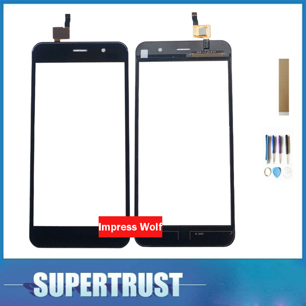 For Vertex Impress Wolf Touch Screen Digitizer Front Glass Lens Black Color With Adhesive Tape Tools