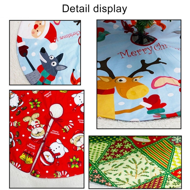 2021 Christmas Tree Skirt Santa Claus Elk Round Carpet Christmas Decorations For Home Party Office Floor Mat New Year Decor 6