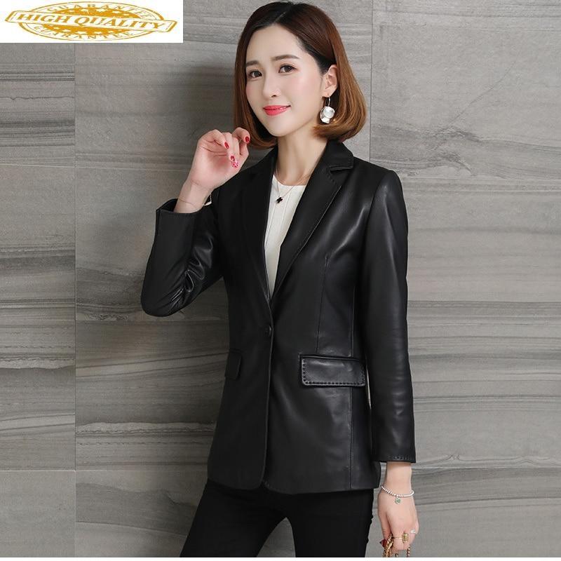 2020 Genuine Leather Jacket Women Sheepskin Coat Korean Black Red Leather Jqackets Ladies Blazer Chaqueta Cuero Mujer KJ1970