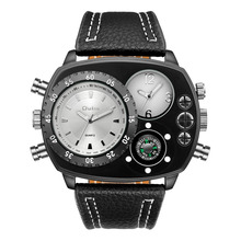 Luxury Brand Oulm Watches Men Sports Watches 2 Time Zone Quartz Watches Men Big Watches horloges mannen relogio masculino 2019 cheap 25 5cm NONE No waterproof Buckle CN(Origin) STAINLESS STEEL 13 5mm Hardlex No package Leather 58mm men watch HP9865 32mm