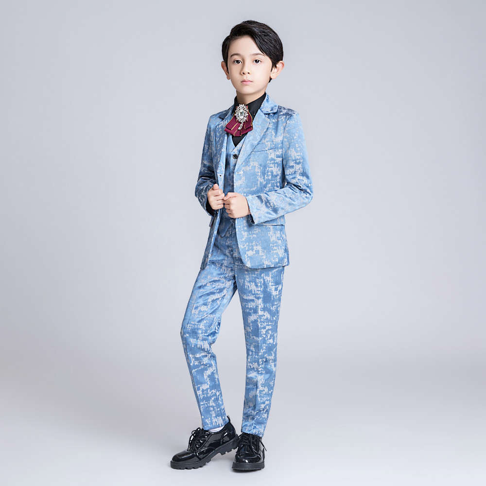 YuanLu 2019 Boys Suits For Party Wedding Light Blue Blazer Jacket British Style Kids Suits Toddler Clothes Silm Fit