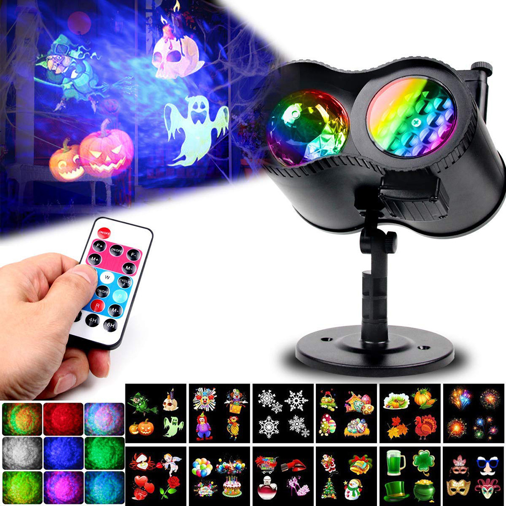 Waterproof Moving Laser Projector Lamps 12 Slides 2 In 1 Water Wave LED Stage Light For Christmas New Year Landscape Garden Lamp