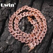 UWIN 9mm Iced Out Choker damski Rose złoty Metal kubański Link pełne z różowy sześciennych cyrkonie łańcuch biżuteria