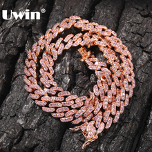 UWIN 9mm Iced Out Women Choker Necklace Rose Gold Metal Cuban Link Full With Pink Cubic Zirconia Stones Chain Jewelry